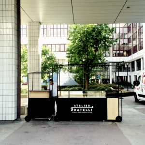 Stand mobile / Chariot ambulant - Visuel Fratelli pizza vue face
