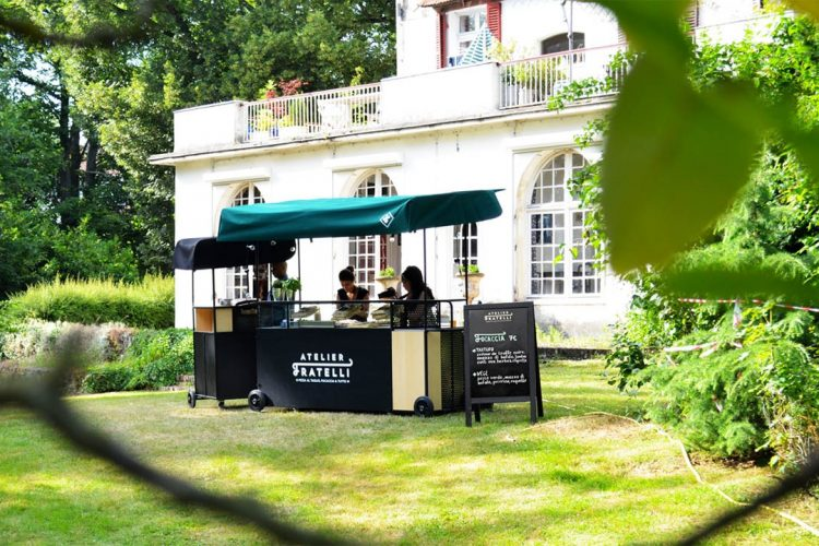 Stand mobile / Chariot ambulant - Visuel Fratelli pizza jardin
